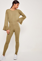Missguided Ribbed Flutter Sleeve Romper Khaki