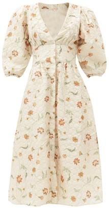 Johanna Ortiz A Taste Of Wonder Silk-blend Matelasse Midi Dress - Cream Multi