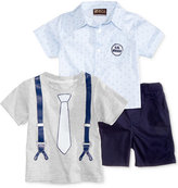 Nannette 3-Pc. Lil Nerd Shirt, T-Shirt & Shorts Set, Baby Boys (0-24 months)
