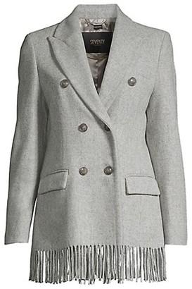 Seventy Fringe Hem Double-Breasted Wool Coat