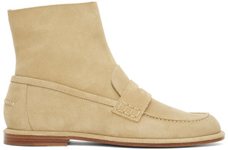 Loewe Tan Nubuck Loafer Boots