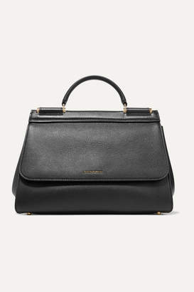 Dolce & Gabbana Sicily Medium Textured-leather Tote - Black