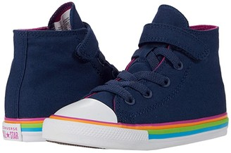 Converse Chuck Taylor(r) All Star(r) 1V - Hi (Infant/Toddler) (Navy/Cactus Flower/White) Girl's Shoes