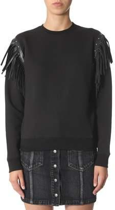 Saint Laurent Leather Fringing Round Neck Sweater