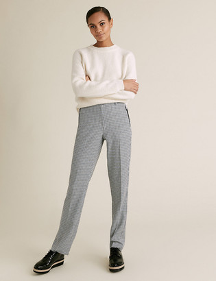 Marks and Spencer Straight Leg Checked Trousers