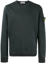 Stone Island Charcoal Crew neck Logo Patch Sweatshirt - men - Cotton - S