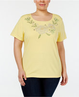 Karen Scott Plus Size Embellished T-Shirt, Only at Macy's