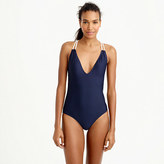 J.Crew Long torso braided rope V-neck one-piece swimsuit