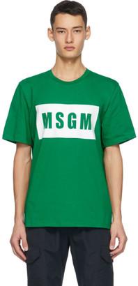 MSGM Green Logo Box T-Shirt