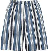 Il Gufo Kids' Striped Cotton-Linen Cropped Pants