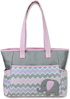 Baby Essentials Pink Elephant & Chevron Diaper Bag Set