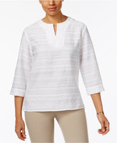Alfred Dunner Bahama Bays Crochet-Trim Striped Tunic