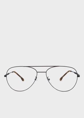 Paul Smith Large Matte Black And Honeycomb Tortoise 'Angus' Spectacles