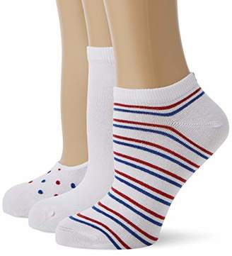 Tommy Hilfiger Th Women Vanity Pack 3p Calf Socks, (White/Blue/Red 105), (Size: 039) (Pack of 3)