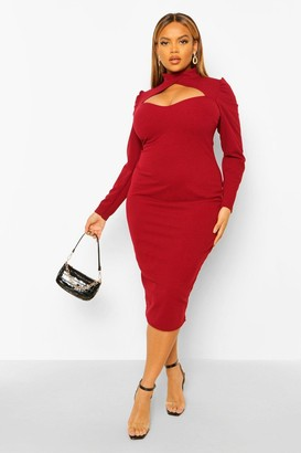 boohoo Plus High Neck Cut Out Midi Dress