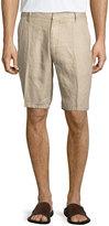 Neiman Marcus Solid Linen Shorts, Pebble