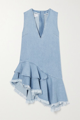 Marques Almeida Asymmetric Frayed Ruffled Denim Dress - Blue
