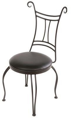 Fleur De Lis Living Chunn Leather Metal Ladder Back Side Chair in Black