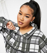 Thumbnail for your product : Lasula Plus oversized check shirt in mono check print