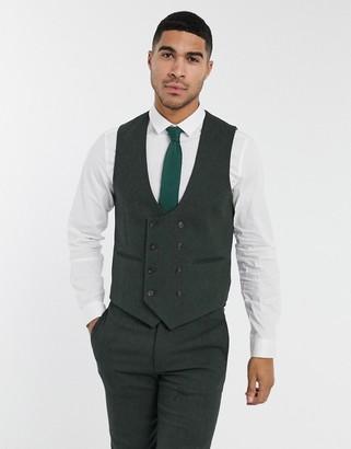 ASOS DESIGN wedding super skinny wool mix suit suit vest in khaki twill