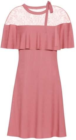 Valentino Lace-trimmed crêpe dress