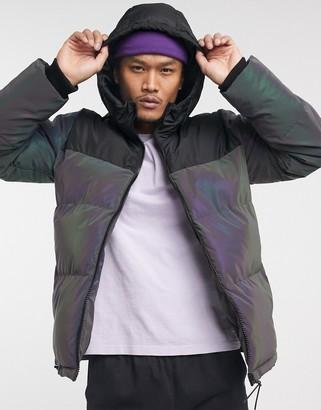 Bershka reflective puffer jacket