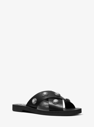 MICHAEL Michael Kors Glenda Studded Leather Slide Sandal