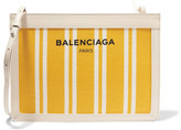 Balenciaga Leather-trimmed Striped Canvas Shoulder Bag - Yellow