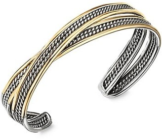 David Yurman DY Origami Narrow Crossover Cuff Bracelet With 18K Yellow Gold