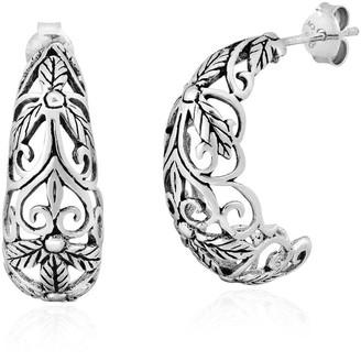 Aeravida Handmade Celestial Garden Crescent Moon Sterling Silver Half Hoop Stud Earrings