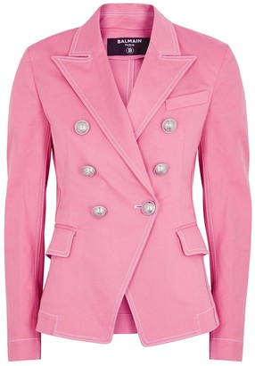Balmain Pink double-breasted denim blazer
