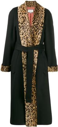 Gucci Leopard Print Trim Oversized Coat
