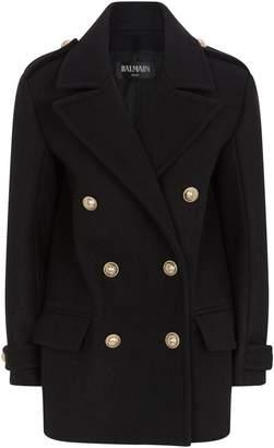 Balmain Wool Felt Coat