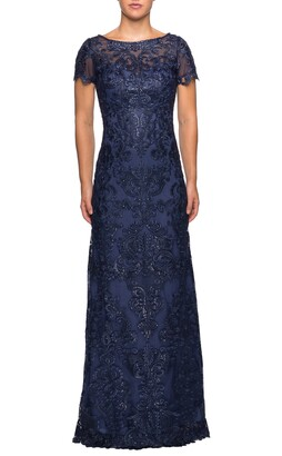 La Femme Sequin Embroidered Column Dress
