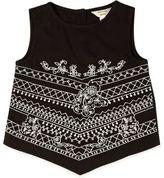 River Island Mini girls black embroidered triangle top
