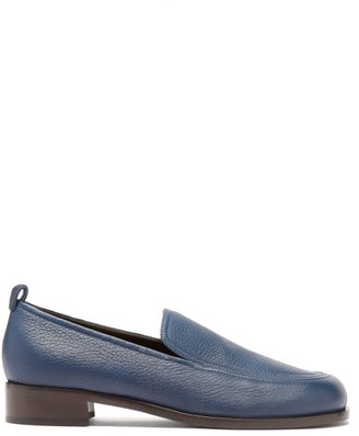 The Row Topstitched Leather Loafers - Navy