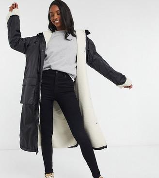 Asos Tall ASOS DESIGN Tall teddy lined maxi rain coat in black
