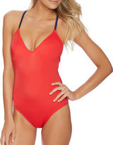 Nautica Topsail Soft Cup Lace-Up One-Piece Swimsuit
