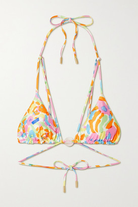 Cult Gaia Embellished Printed Triangle Bikini Top - Orange