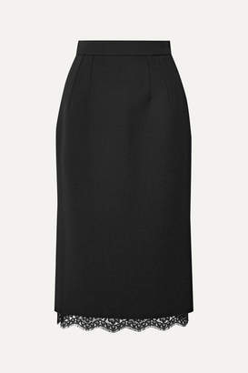 Dolce & Gabbana Lace-trimmed Cady Skirt - Black