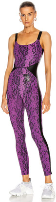 Dundas for FWRD All in One Bodysuit in Purple & Black Python Print | FWRD