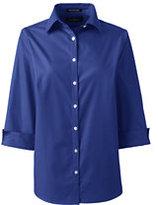 Lands' End Women's Regular 3/4 Sleeve Broadcloth Shirt-Dark Cobalt Blue