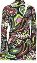 Emilio Pucci Cutout Wrap-effect Printed Jersey Top
