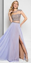 Terani Couture Two Piece Tonal Beaded A-line Prom Dress
