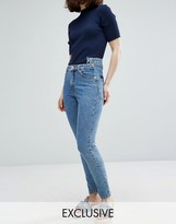 Monki Kimomo Acid Wash Pocket Detail Mom Jeans
