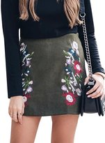 Berrygo Women's Boho Floral Embroidered Bodycon A-line Pencil Faux Suede Mini Skirt