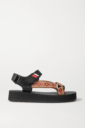 Prada Nomad Logo-embossed Rubber And Leather-trimmed Canvas Sandals - Tan