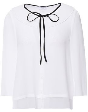 Claudie Pierlot Bow-detailed Paneled Crepe And Georgette Blouse