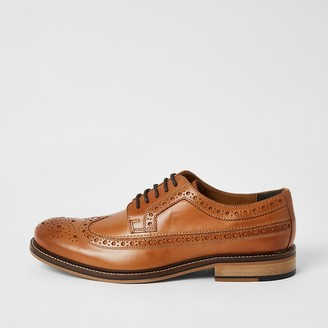 River Island Brown leather lace-up derby brogues