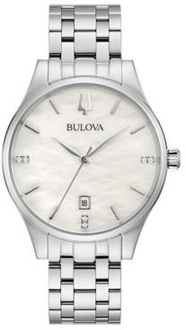 Bulova Women's Classic Diamond-Accent Stainless Steel Bracelet Watch 36mm